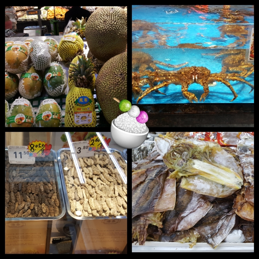 day two travel routine super market trip with a collage of tropical fruits, large crabs, dried bugs, and dried squid
