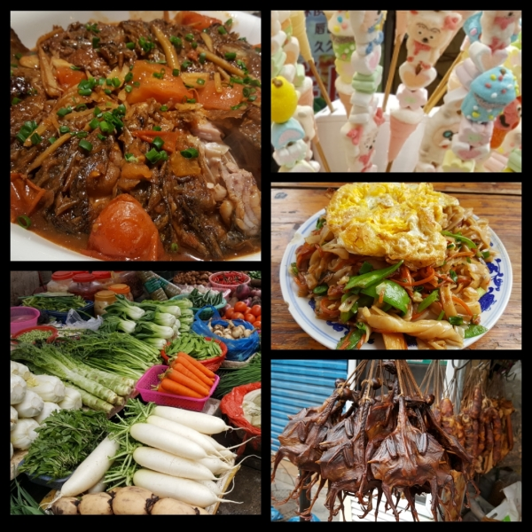 A collage of food we have seen or eaten in Yangshuo, China. The Top left is Beer Fish. Moving clockwise, there is candy on sticks, fried noodles with an egg on top, dried pigeons, and a table of fresh vegetables.